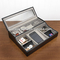 Black PU leather 3 slots wrist watch and personal belonging storage and display box/ case