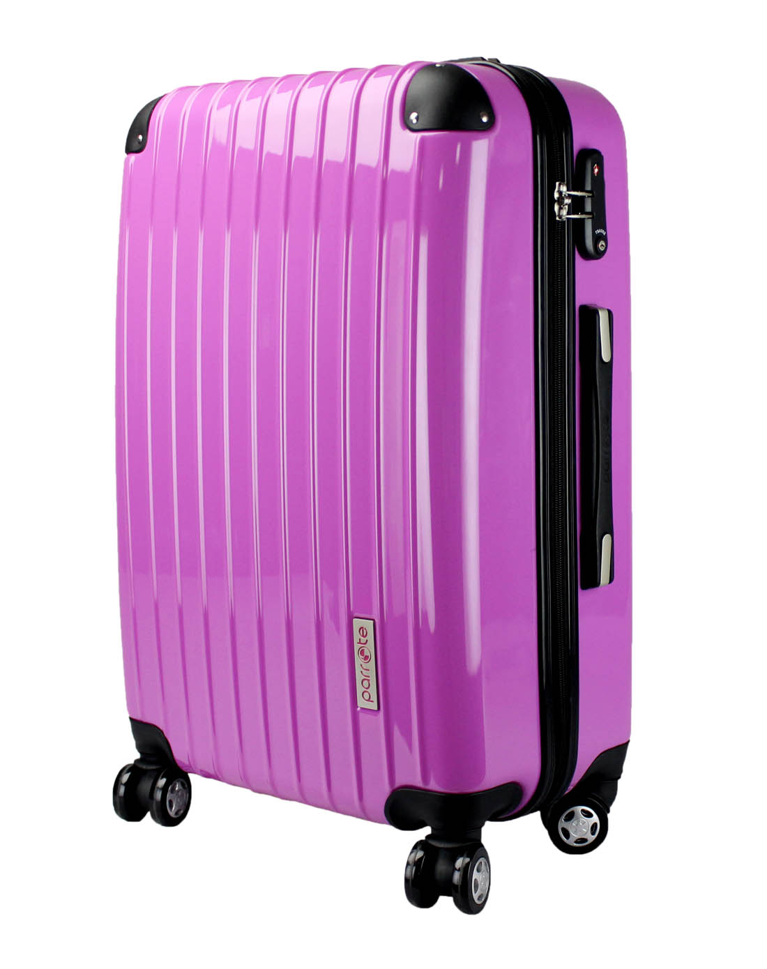 shiny purple classical abs and pc cover travel trolley bag