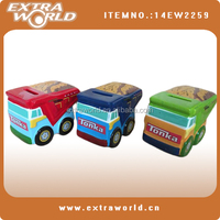wholesale bus shape coin bank diy ceramic money box for child gift