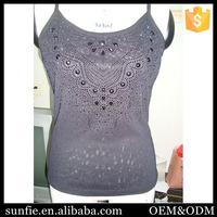 Custom korean style Round Neck beading casual blouse baju