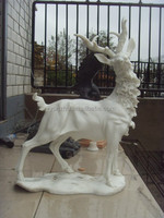 Hand carving outdoor marble stone garden animal deer statue for decorative