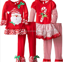 2015 Instock Fast Delivery Kids Girl New Year Adorable Santa Claus Ruffle clothing Sets Toddler Girls Christmas Outfit