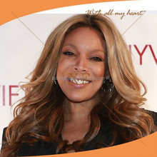Beautiful grace big wave human hair wendy williams style wigs,blonde human hair full lace wig