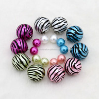 Mixed Round Zebra Printing Double Sided Resin Beads Stud Earrings