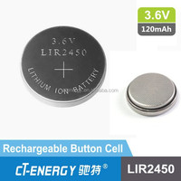 Lithium ion coin cell 3.6v LIR2450 rechargeable battery