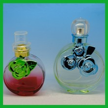 red women perfume glass bottles 50ml with decorated flower