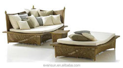 Garden Patio Rattan Daybed Set Furniture Outdoor Sofa Lounger Set Bed