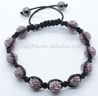 promotion gift bracelet shamballa cheap wholesale shamballa beads magnetic shamballa bracelet with Polymer clay Crystal balls