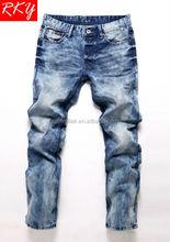 2014 Men's Jeans Pants Cloudy Wash Denim Pant Latest Design Blue Jeans R1631