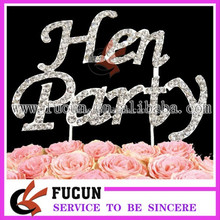 "wholesale crystal ""Hen Party"" diamante cake topper party supplies"