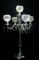 silver candelabra with 5pcs candle holder , wedding candelabra for table decoration