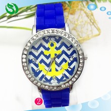 Foreign Trade Geneva Wave Stripe Fashionable Anchor Silicone Watches