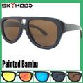 Marrom polaroid estilo de Caçador pintado femininos Óculos bambu