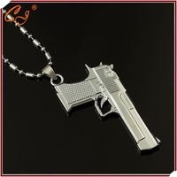Last Production Male Jewelry 18K Yellow Gold Pendant Necklace Jesus Cross Gun Wholesaler