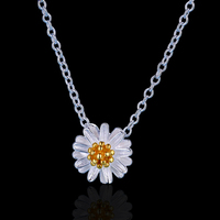2016 Novelties Women Necklace Ladies Gift Items Beautiful Simple 925 Silver Chain Necklace Flower Necklace with Tinny Pendant