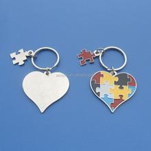 metal autism key chain for promotion gift, heart shape ribbon shape keyring