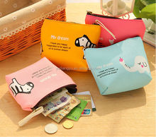 Cartoon happy zoo annimal pattern coin purse hand bag for coin/phone/card