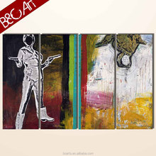Popular set modern abstract human figure oil painting of 4 pieces for wholesale