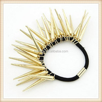 gold stud pink 2015 fancy hair bungee hair elastic bands for teenagers with metal ends
