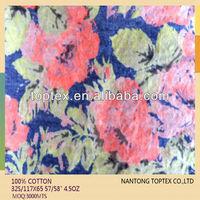 indigo cotton printed denim fabric