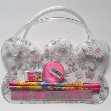 carton design pvc button handle pen bag