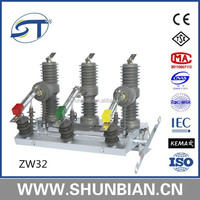 Zw32-24 24kv 630a medium voltage 3 phase outdoor pole mounted ac vacuum circuit breaker with controller 24kv auto recloser