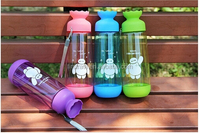 Colorful plastic water bottle with cute clips