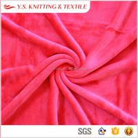 Plain color deep pink polyester flannel plush fabric for blanket