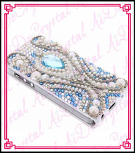 Aidocrystal handmade crystal pearls white i 6 cell pnone case 3D cell phone leather case for I 5/5s/4/4s