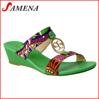 Girls middle heel slippers wedges sandals for women