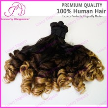 100 Human Hair Ombre Colored Indian Aunty Funmi Hair Bouncy Curlys