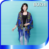 High Quality Fashion Trendy Apparel Silk Feel Tops for Women Beautiful Kaftan Kimono Blouse