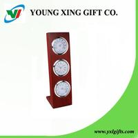 promotion gift wooden table clock with thermometer and hygrometer