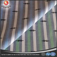 cotton yarn dyed print stripe oxford denim fabric for cloth