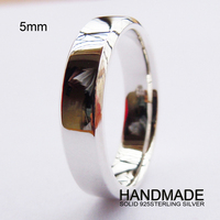 Engravable 5mm Flat Comfort Fit Sterling Silver Band Ring All Sizes