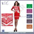 2014 navidad sexy desgaste elegante de invierno desgaste del partido de manga larga de color rojo vestido de vendaje