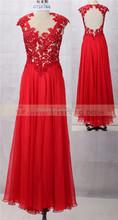 Red chiffon maxi long open back satin wedding dress price