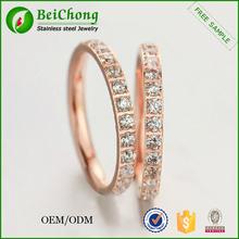 ultimo disegno campione acciaio oro rosa anello di nozze di diamante tratto