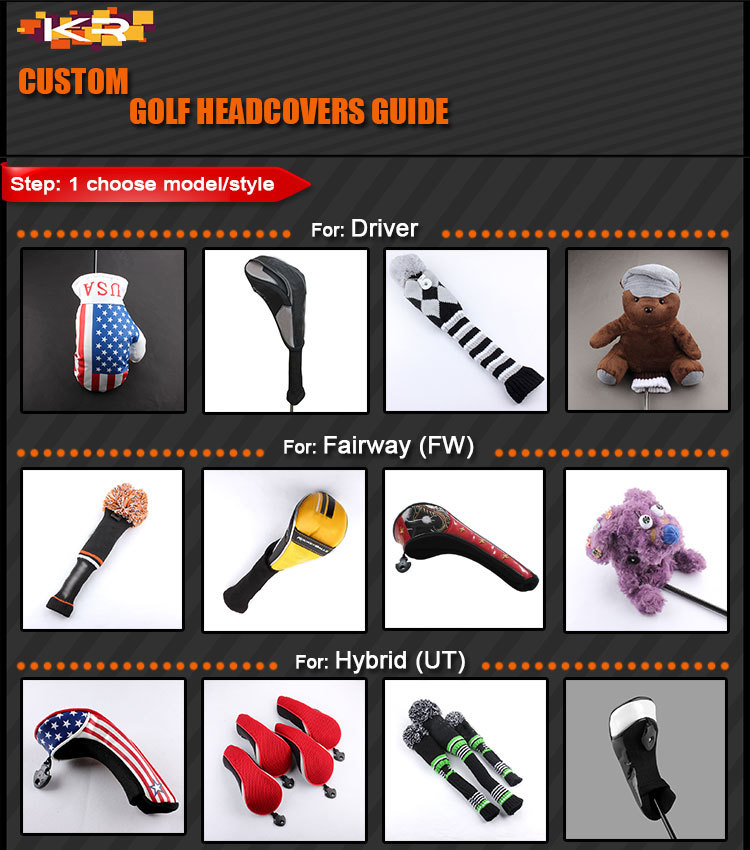 3pcs/set Wholesale Custom Golf Driver Fairway Club Headcovers, 2014 Newest White&Black wood head covers