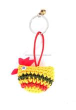 Multi Colored Crochet Chicken Key Chain Zipper Pull Accessory