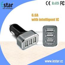 3 USB Port 33W 6.6A Aluminum Panel Compact Designed USB Car Charger
