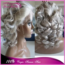2015 pop selling human hair wigs loose wavy silver grey color 100 real brazilian hair lace front wigs with baby hair