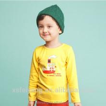 Wholesale 2015 autumn silk screen printing 100 cotton long sleeves yellow baby boy t-shirt