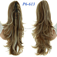 Two Tone Color Long Wavy Claw Clip Ponytail Heat Resistant Fiber Two Wear Fashional Hair Top Quality Ponytail With Claw