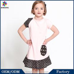 100% Cotton Short Sleeve Black & Pink Color Polka Dots Girls Party Dresses Children Frocks Designs