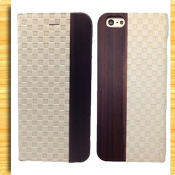 custom wood handmade leather wallet cases /for iphone 6 wallet case
