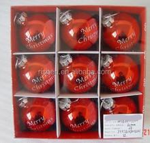 9ct charming red shiny plastic christmas ball popular hand printable christmas ornaments in bulk