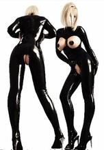 2015 nuovo arrivo sexy pvc donne catsuit del lattice nero busto aperto body donne gatto costume cavallo aperto tuta