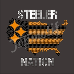 Steeler Nation Football Iron On Transfers Sports Team Rhinestone Motif