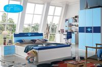 2015 New Design Modern Fashionable kids train bed with desk and wardrobe